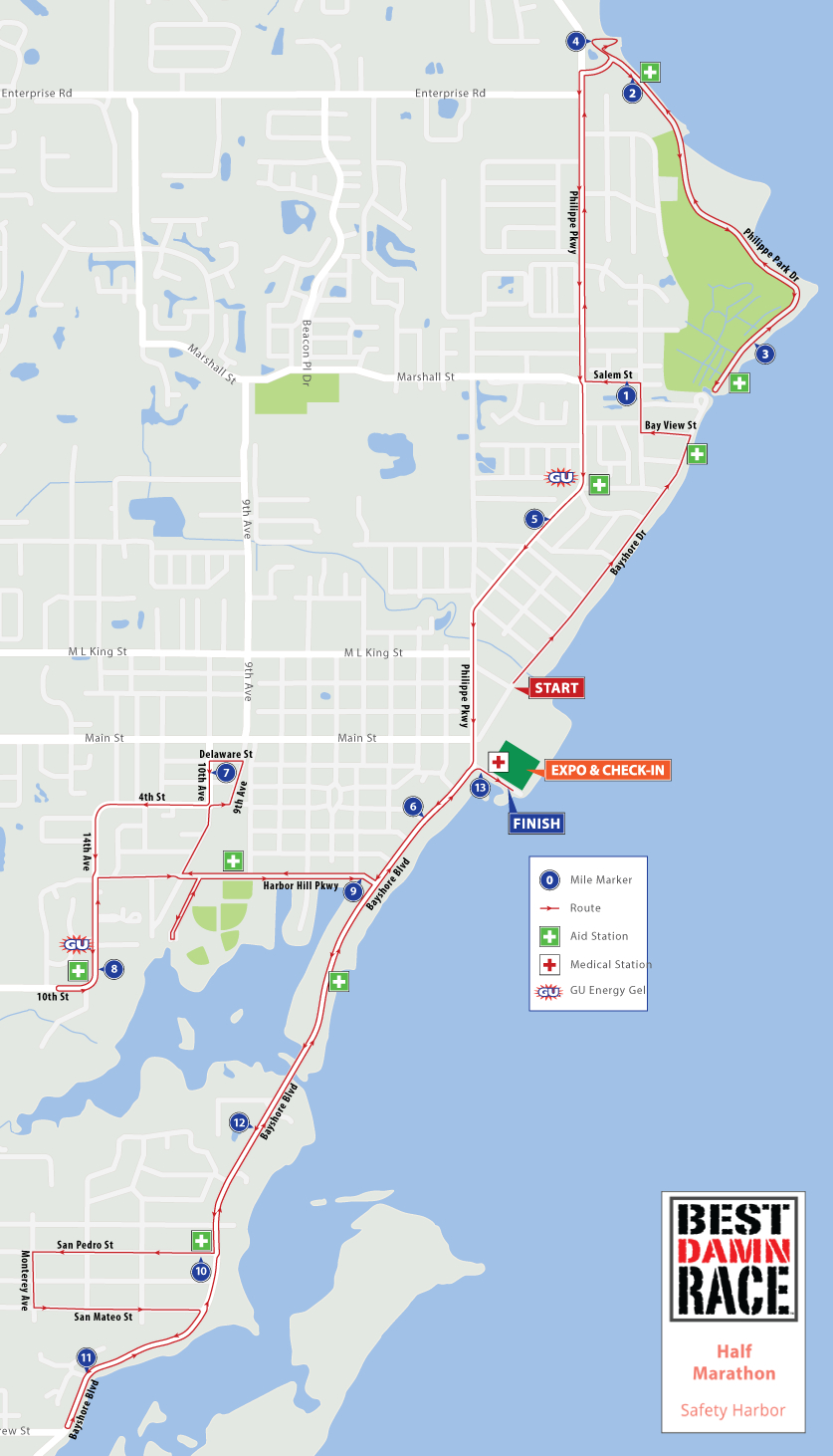 Course Maps - Best Damn Race - Safety Harbor, Fl - Safety Harbor Florida Map