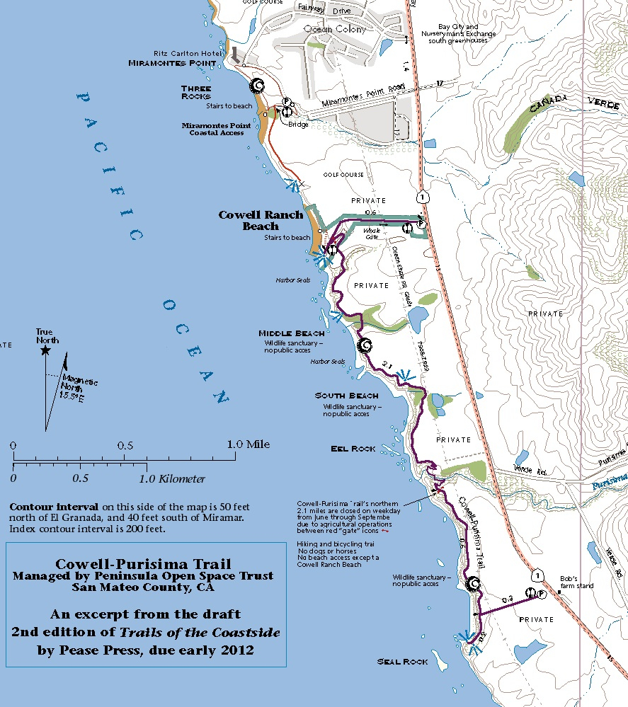 Cowell-Purisima Trail Opens Near Half Moon Bay | Cartographer's Notebook - Half Moon Bay California Map