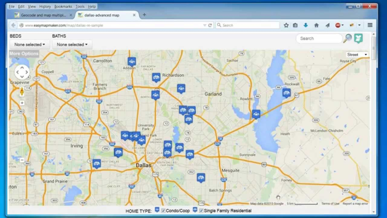 Create A Map: Easily Map Multiple Locations From Excel Data - Google Maps Dallas Texas Usa