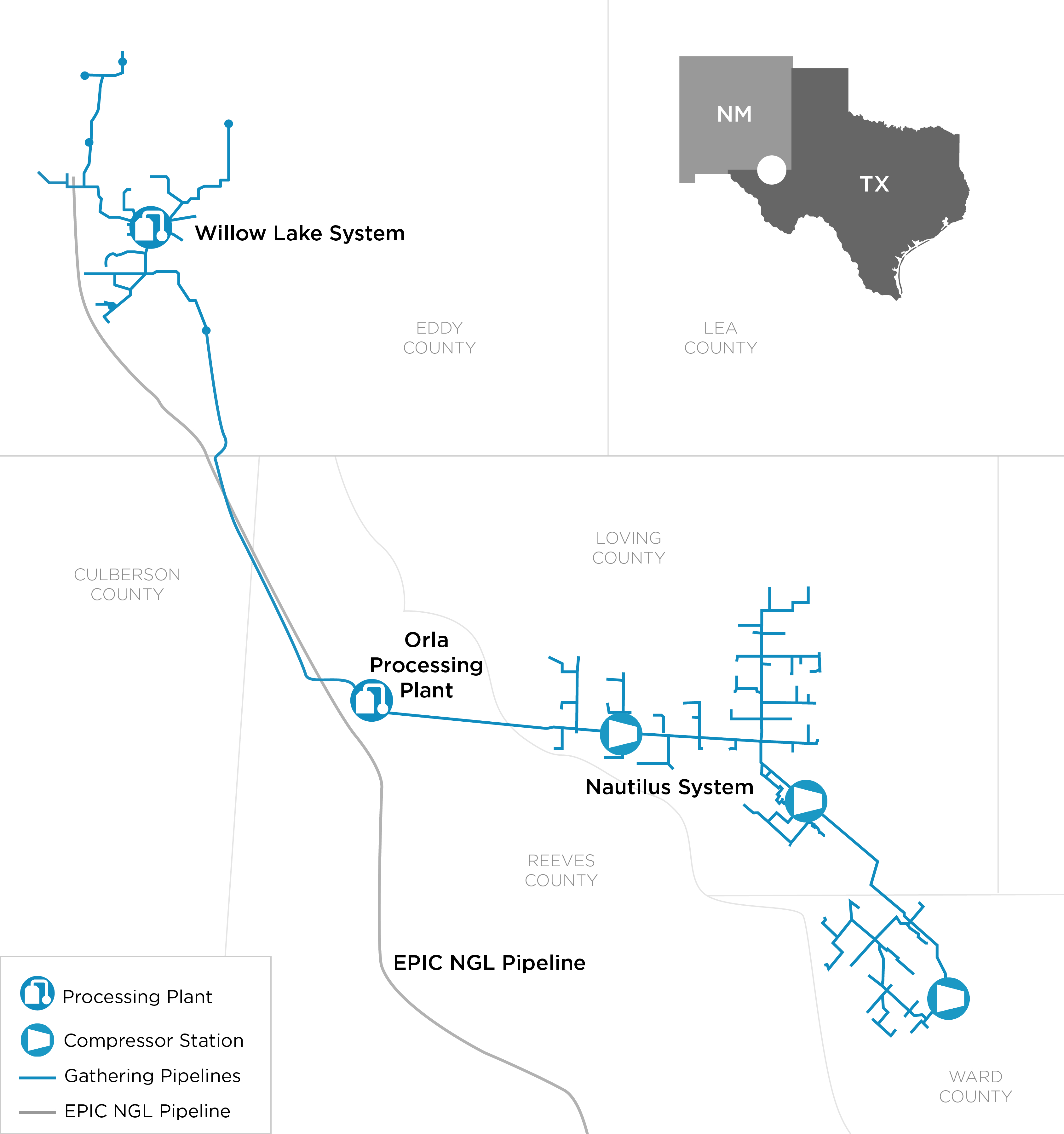 Crestwood Equity Partners - Operations - Gathering & Processing - Oneok Pipeline Map Texas