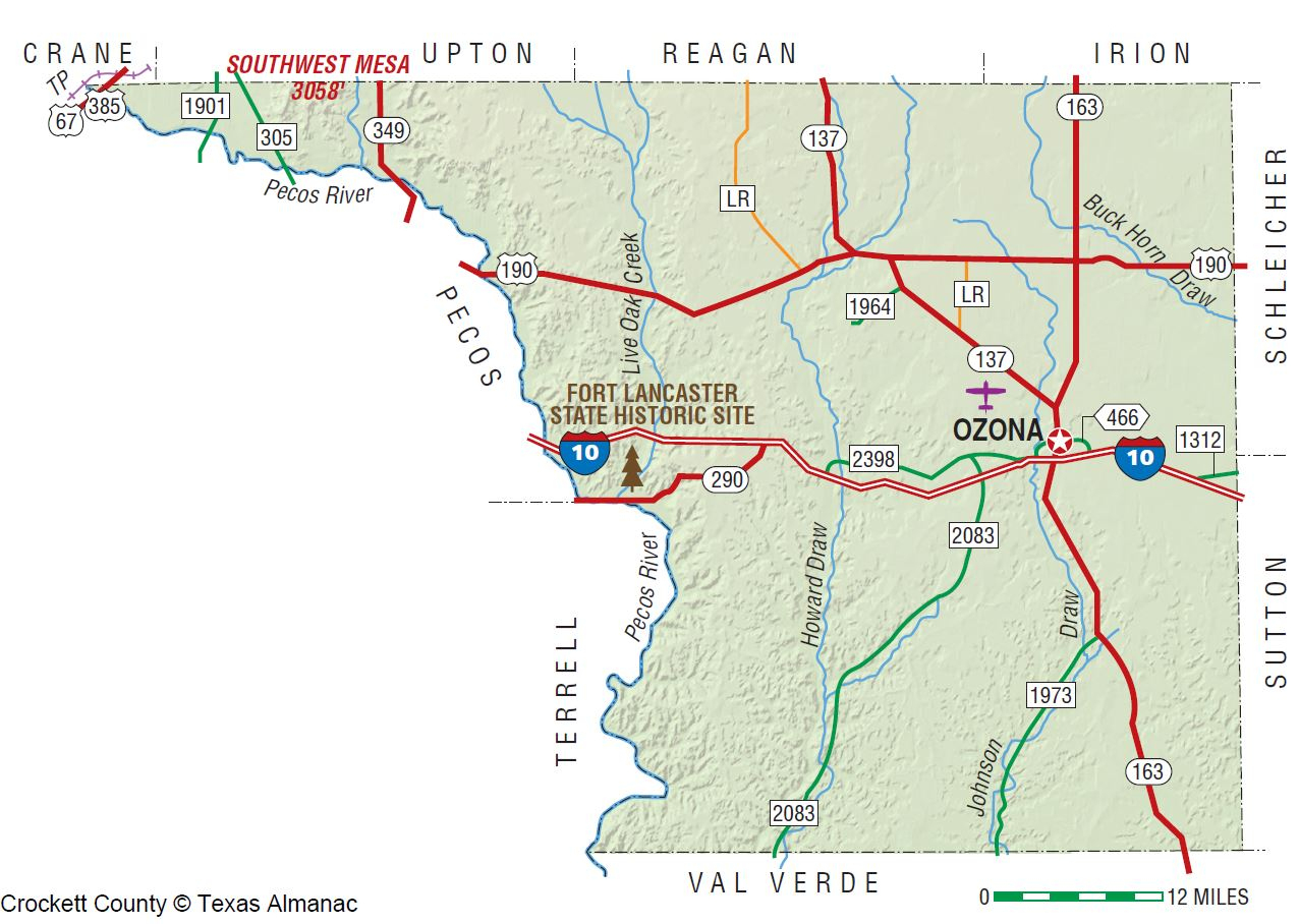 Crockett County | The Handbook Of Texas Online| Texas State - Ozona Texas Map