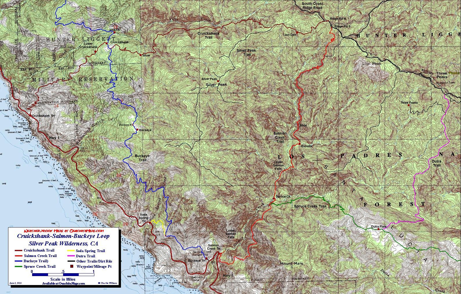 Cruickshank-Salmon-Buckeye Loop Trail, Silver Peak Wilderness - California Wilderness Map