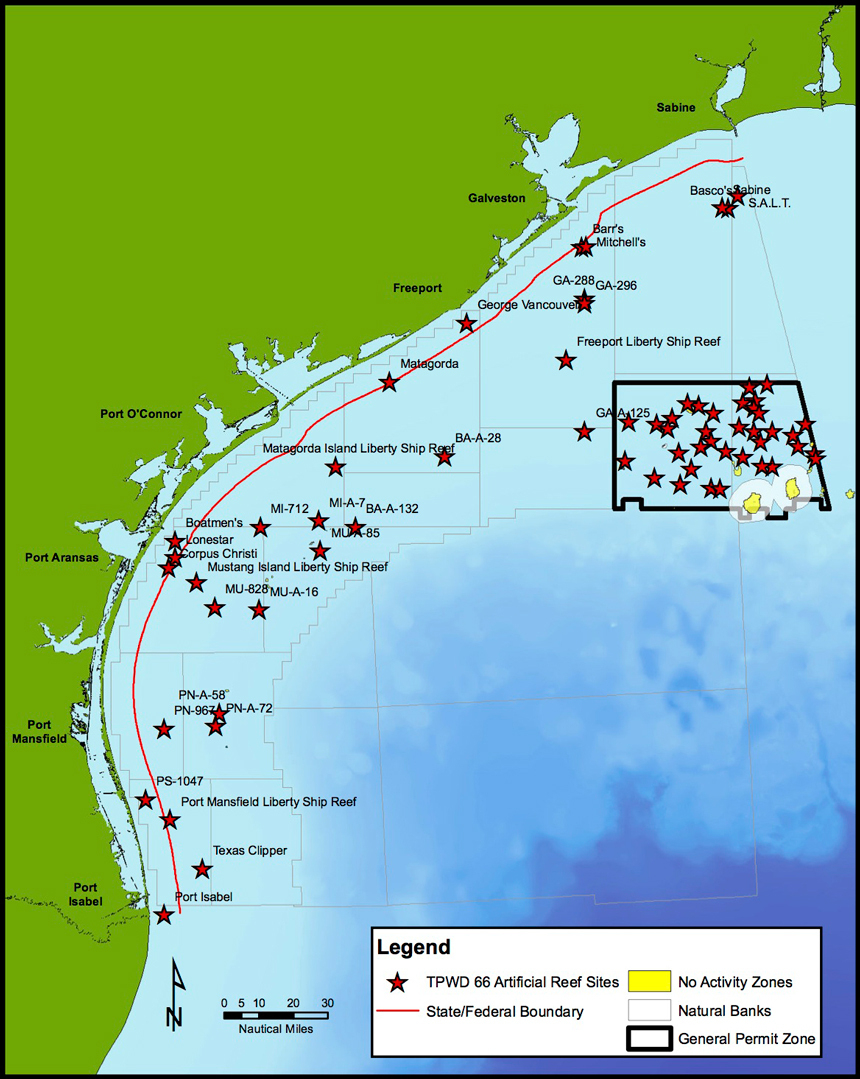 Current Projects - Latest News - Artificial Reef Program - Tpwd - Texas Offshore Fishing Maps