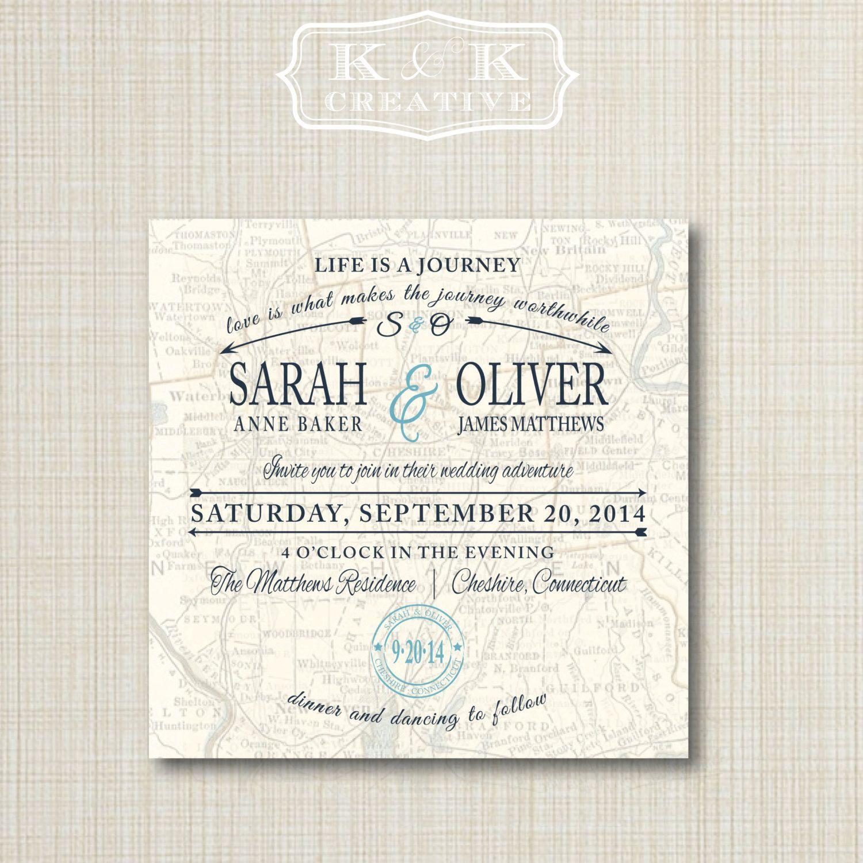 Custom Map Printable Wedding Invitation 5X5Kandkcreative, $20.00 - Printable Maps For Wedding Invitations Free