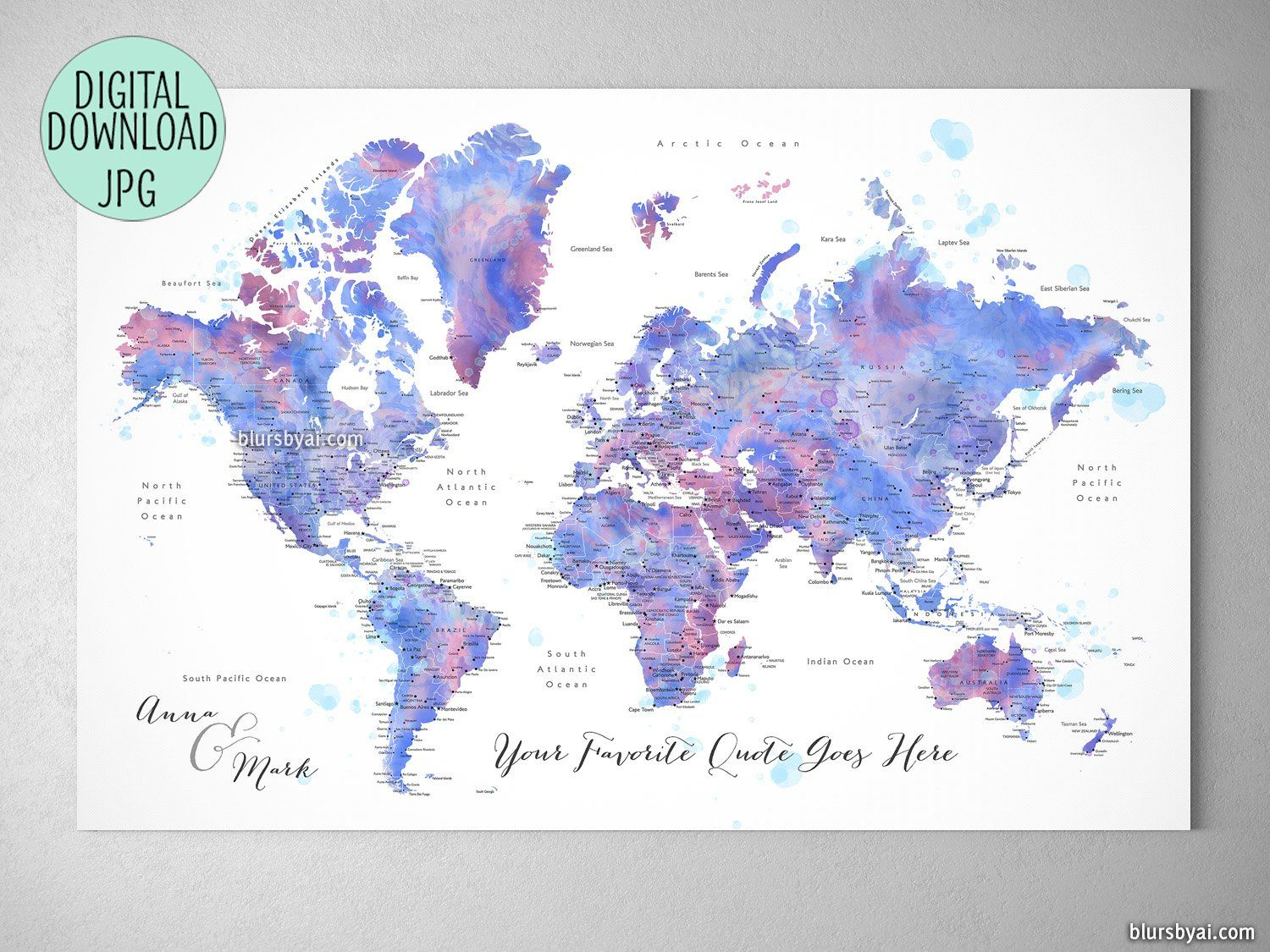 Custom Quote - Blue And Purple Watercolor Printable World Map With - Custom Printable Maps