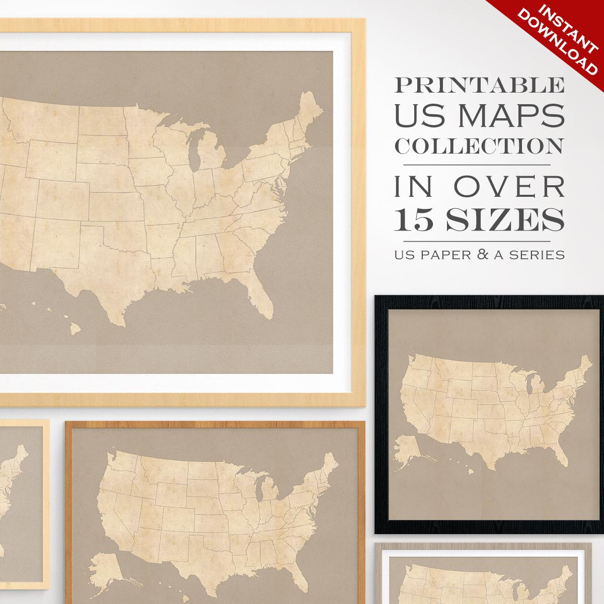 Custom Travel Maps - Printable Us Travel Maps - Vintage United - United States Travel Map Printable