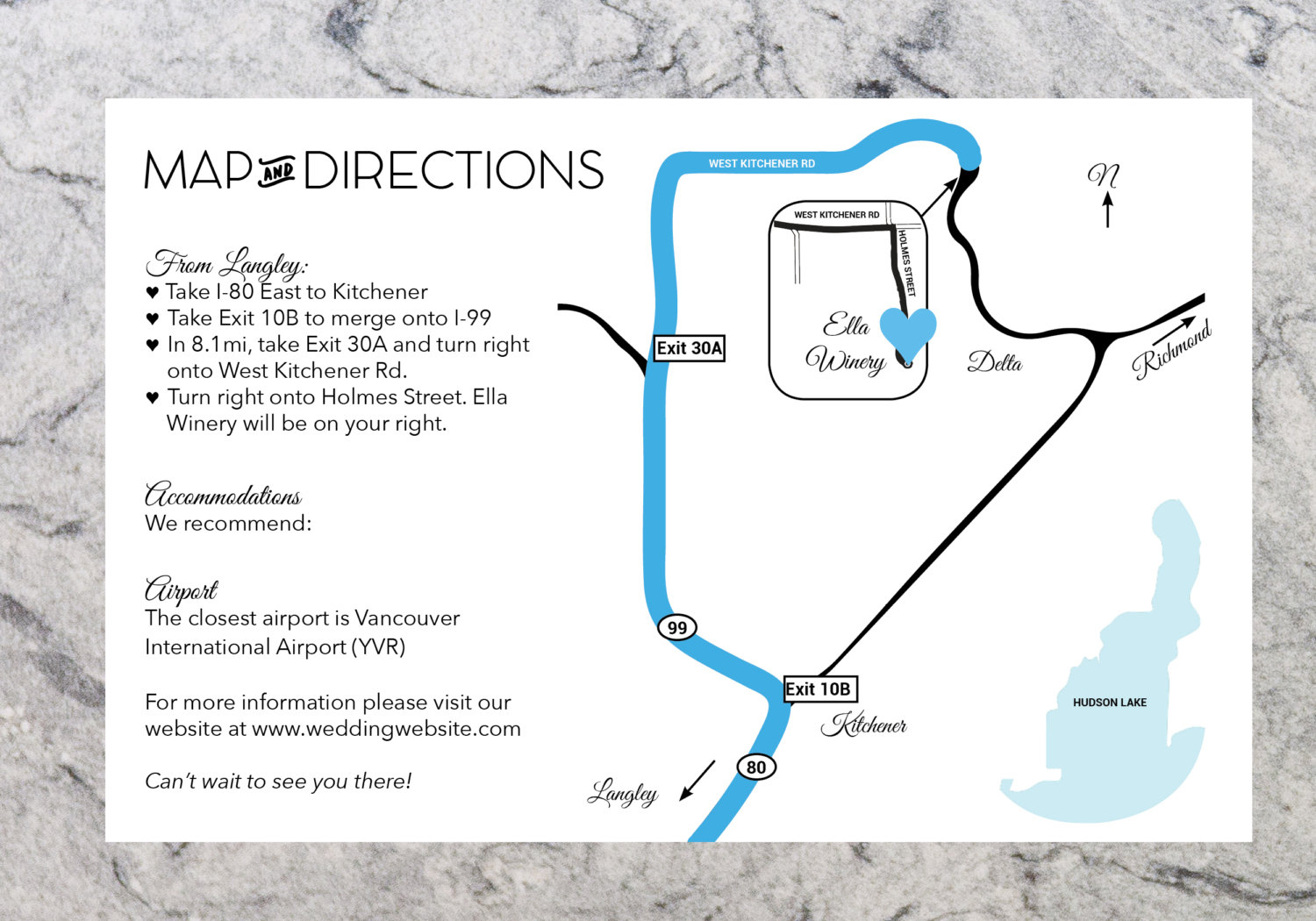 Custom Wedding Directions And Map Information Printable | Etsy - Printable Map Directions For Invitations