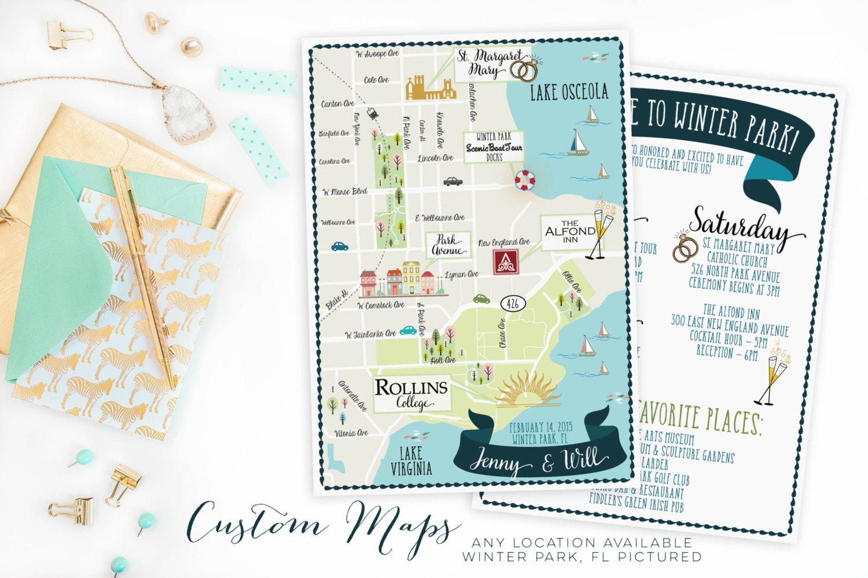 Custom Wedding Map-Any Location Available-Winter Park Florida   Etsy - Winter Park Florida Map
