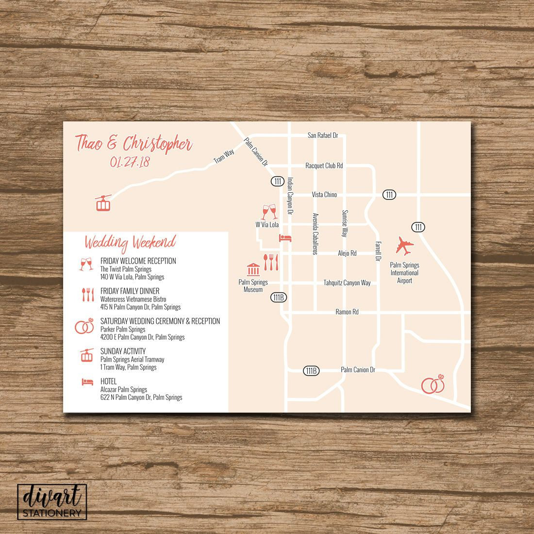 Custom Wedding Map, Event Map, Directions, Locations - Printable - Printable Map Directions For Invitations