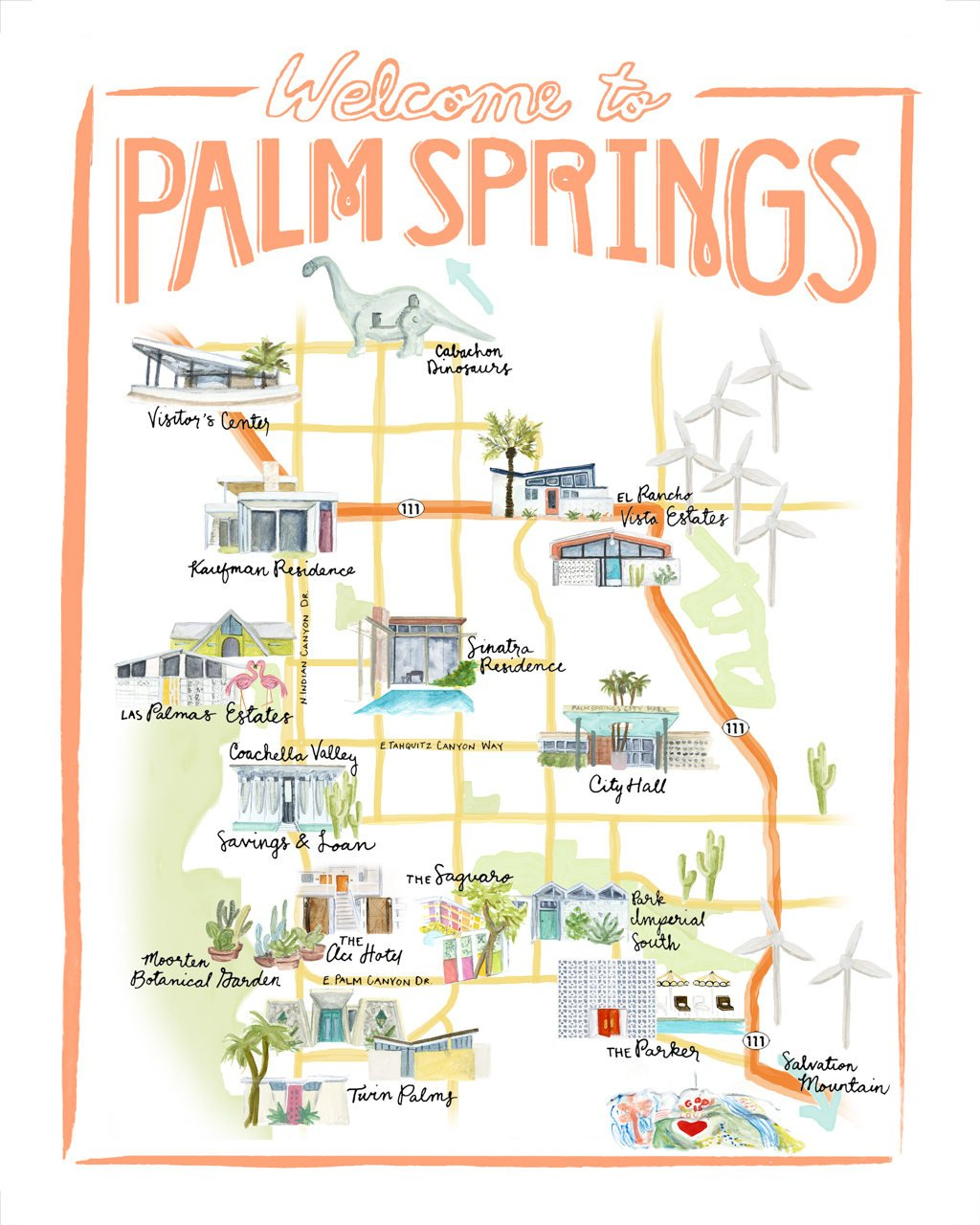 Customizable Palm Springs Map Illustration - Map Of California Showing Palm Springs