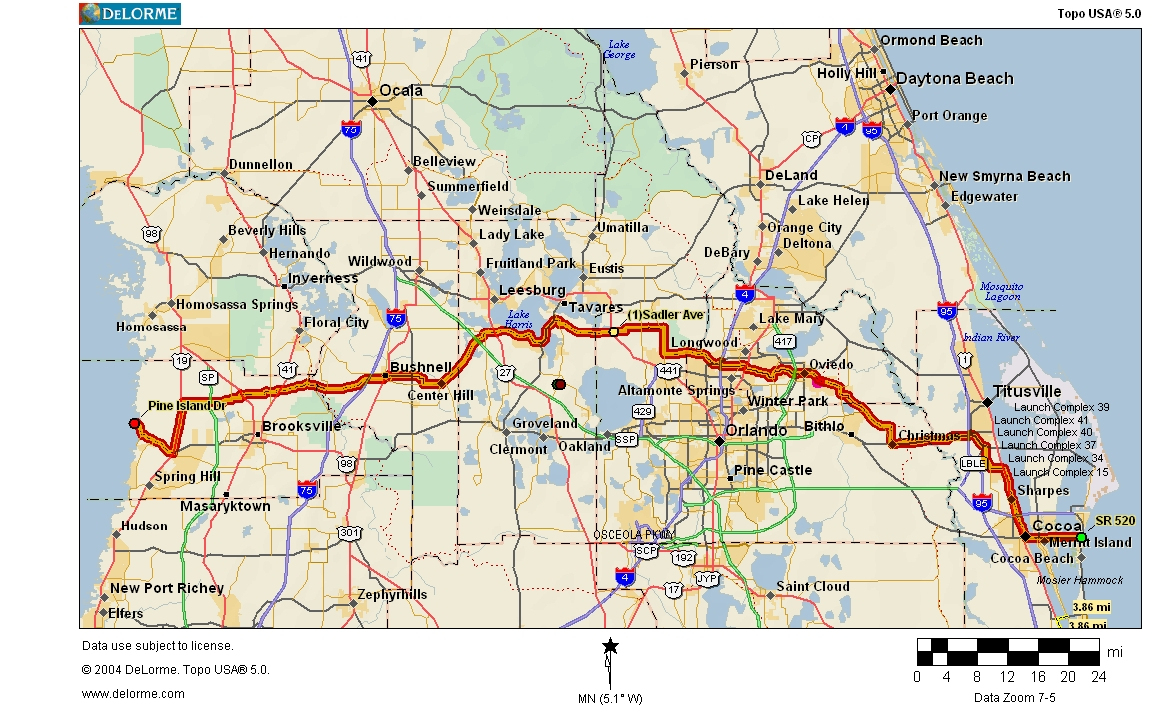 Cycling Routes Crossing Florida - Central Florida Bike Trails Map