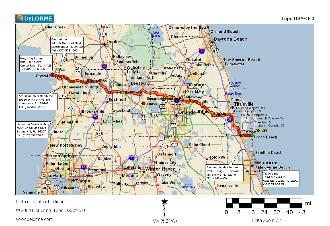 Cycling Routes Crossing Florida - Florida Bicycle Trails Map