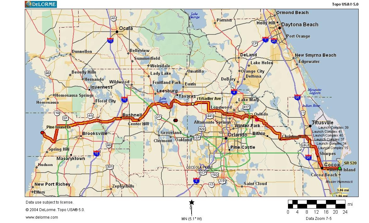 Cycling Routes Crossing Florida - Florida Destinations Map