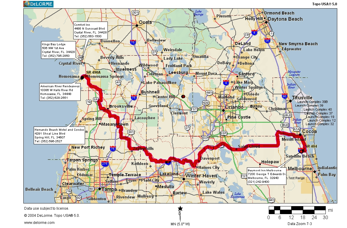 Cycling Routes Crossing Florida - Indian Springs Florida Map