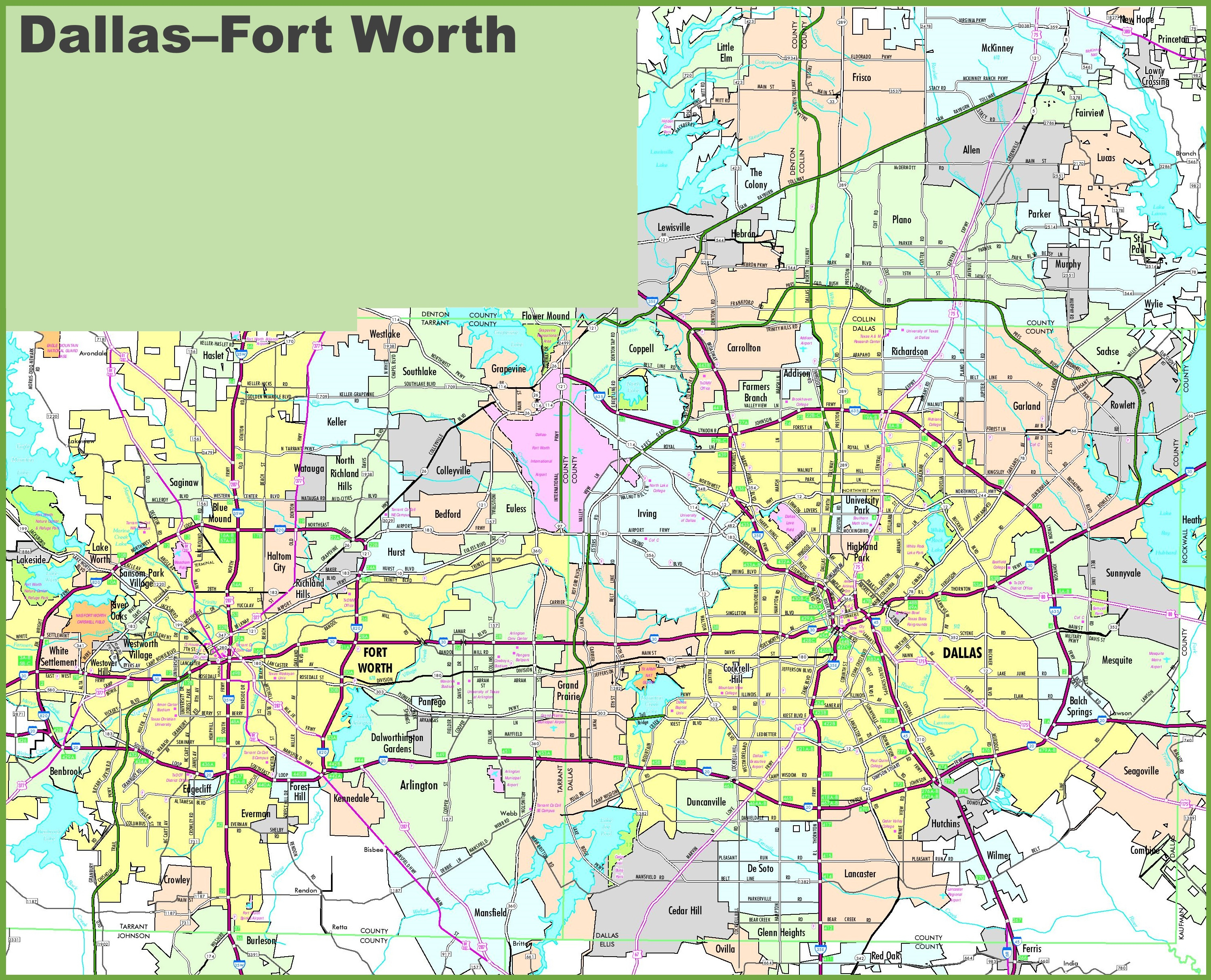 Dallas And Fort Worth Map - Printable Map Of Dallas