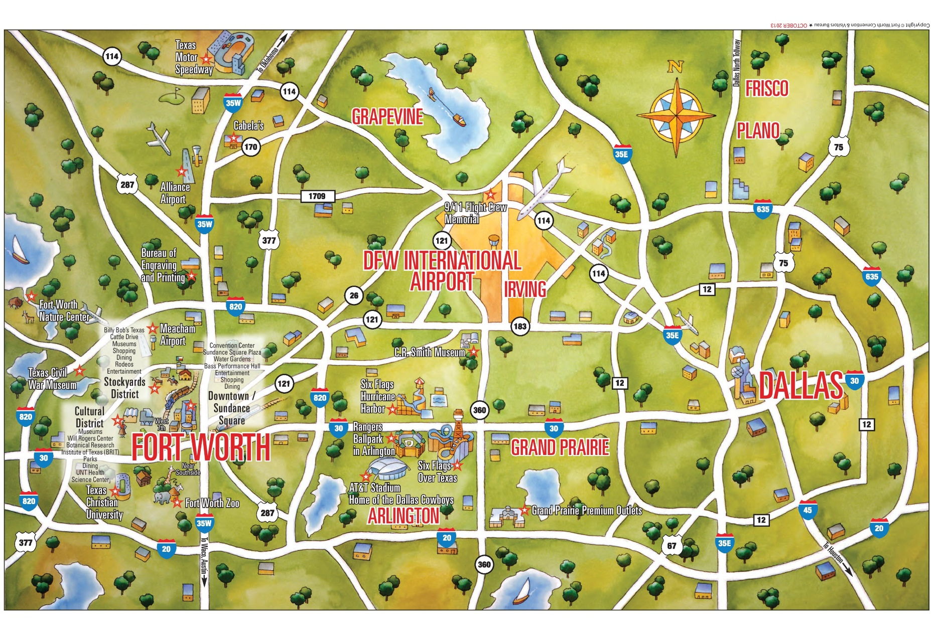 Dallas And Fort Worth Tourist Map - Fort Worth Texas Map