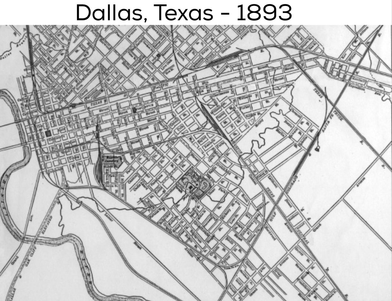 Dallas Street Map: 1893 | Dallas County, Usa | Dallas Map, Dallas - Street Map Of Dallas Texas
