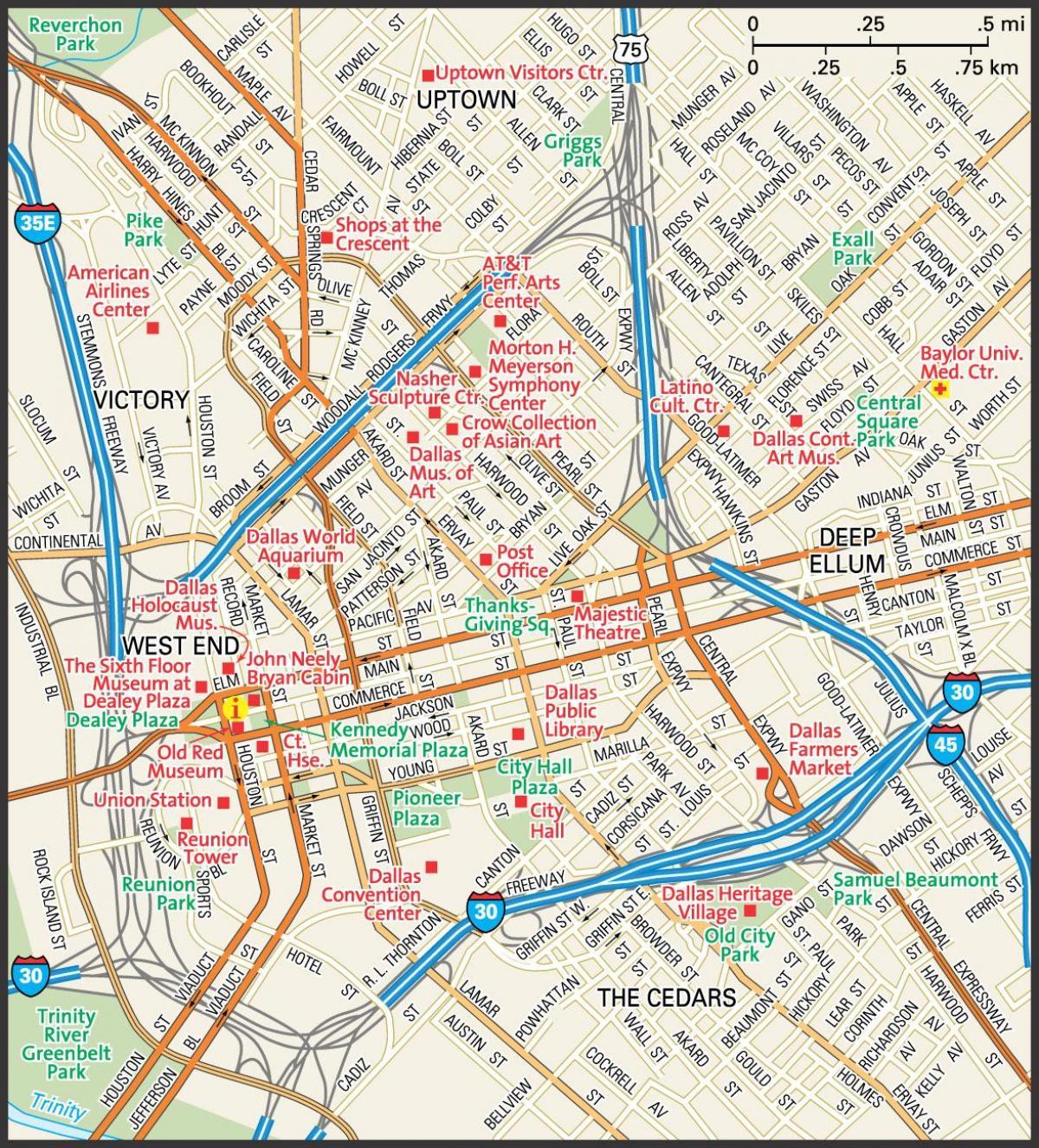 Dallas Street Map - Carte Du Centre-Ville Rues De Dallas (Texas - Usa) - Dallas Map Of Texas