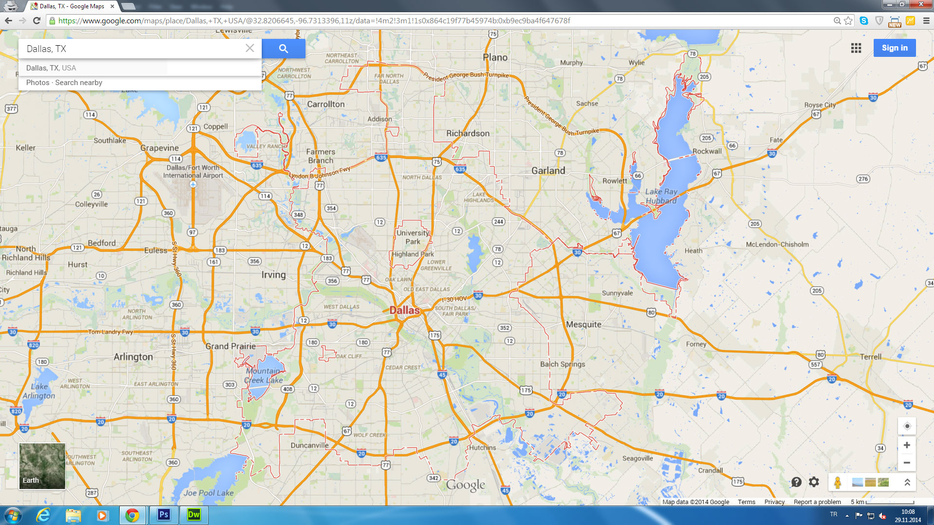 Dallas Texas Google Maps And Travel Information | Download Free - Google Maps Texas Cities