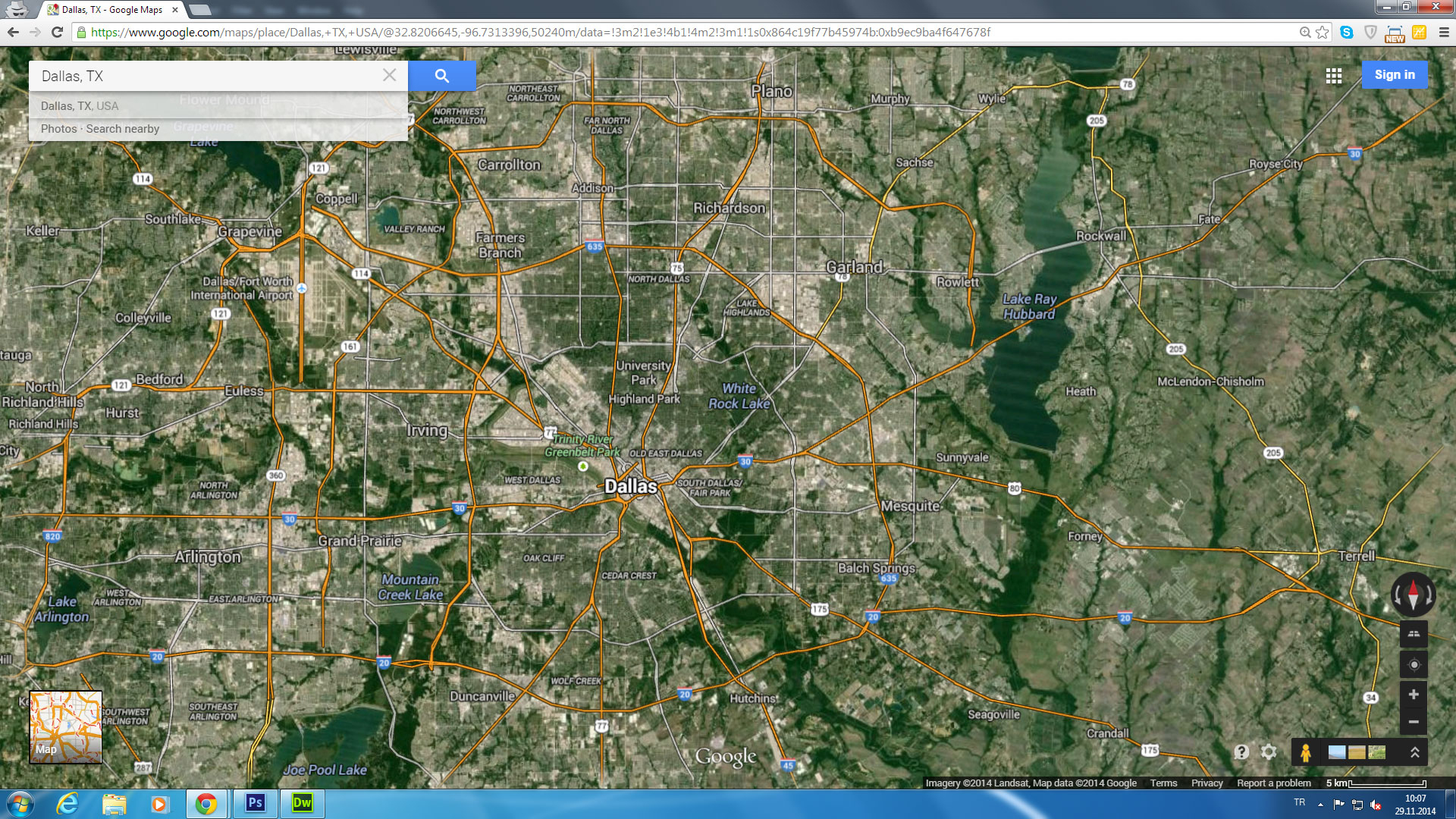 Dallas, Texas Map - Google Maps Satellite Texas