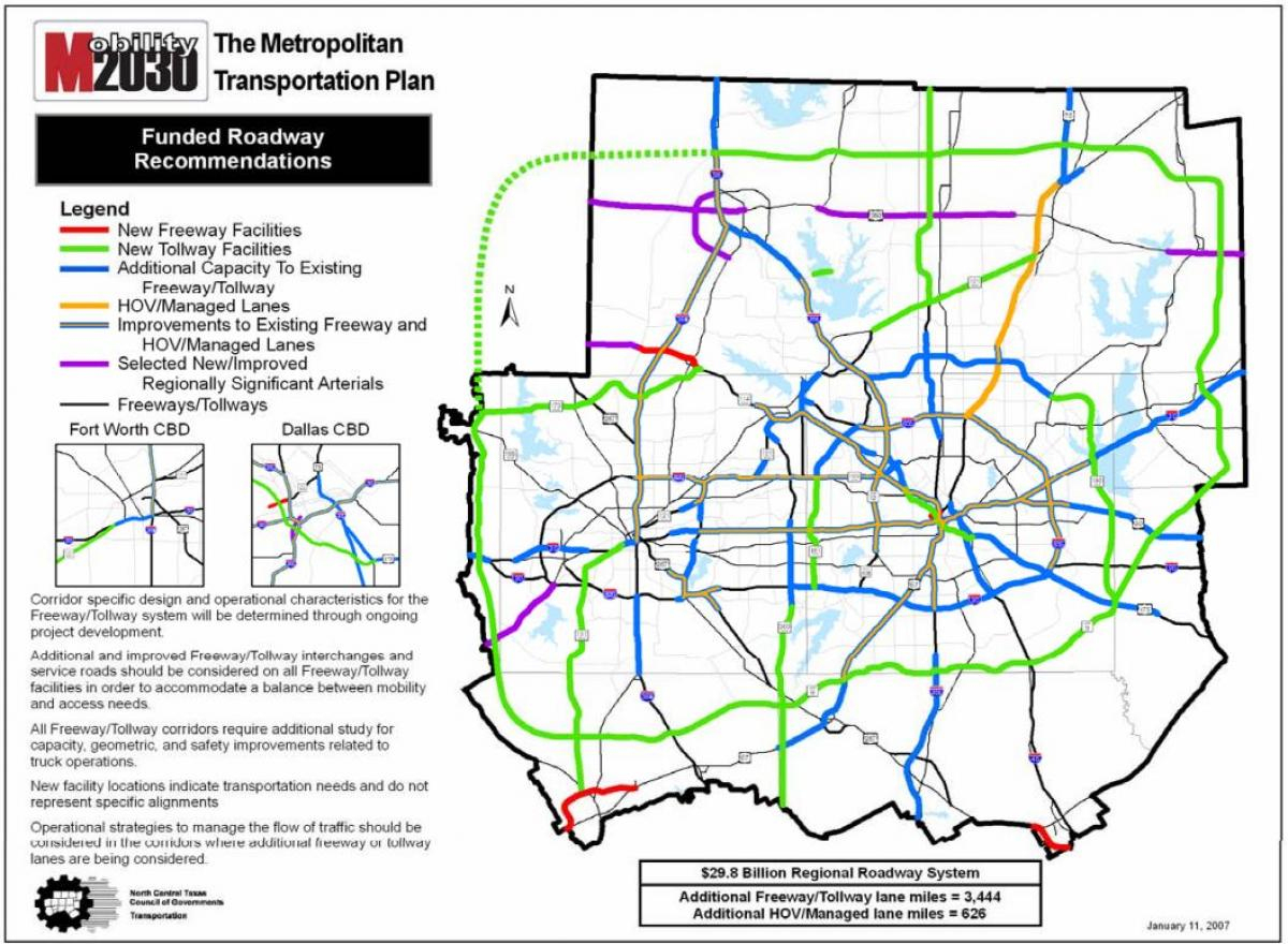 Dallas Tollway Map - Dallas Toll Roads Map (Texas - Usa) - Texas Toll Roads Map