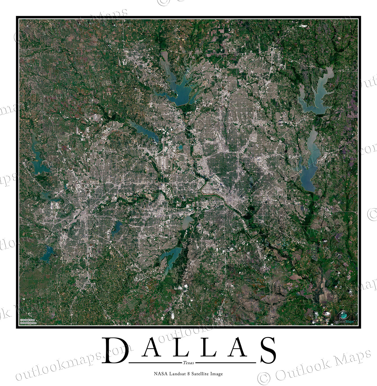 Dallas, Tx Satellite Map Print | Aerial Image Poster - Satellite Map Of Texas