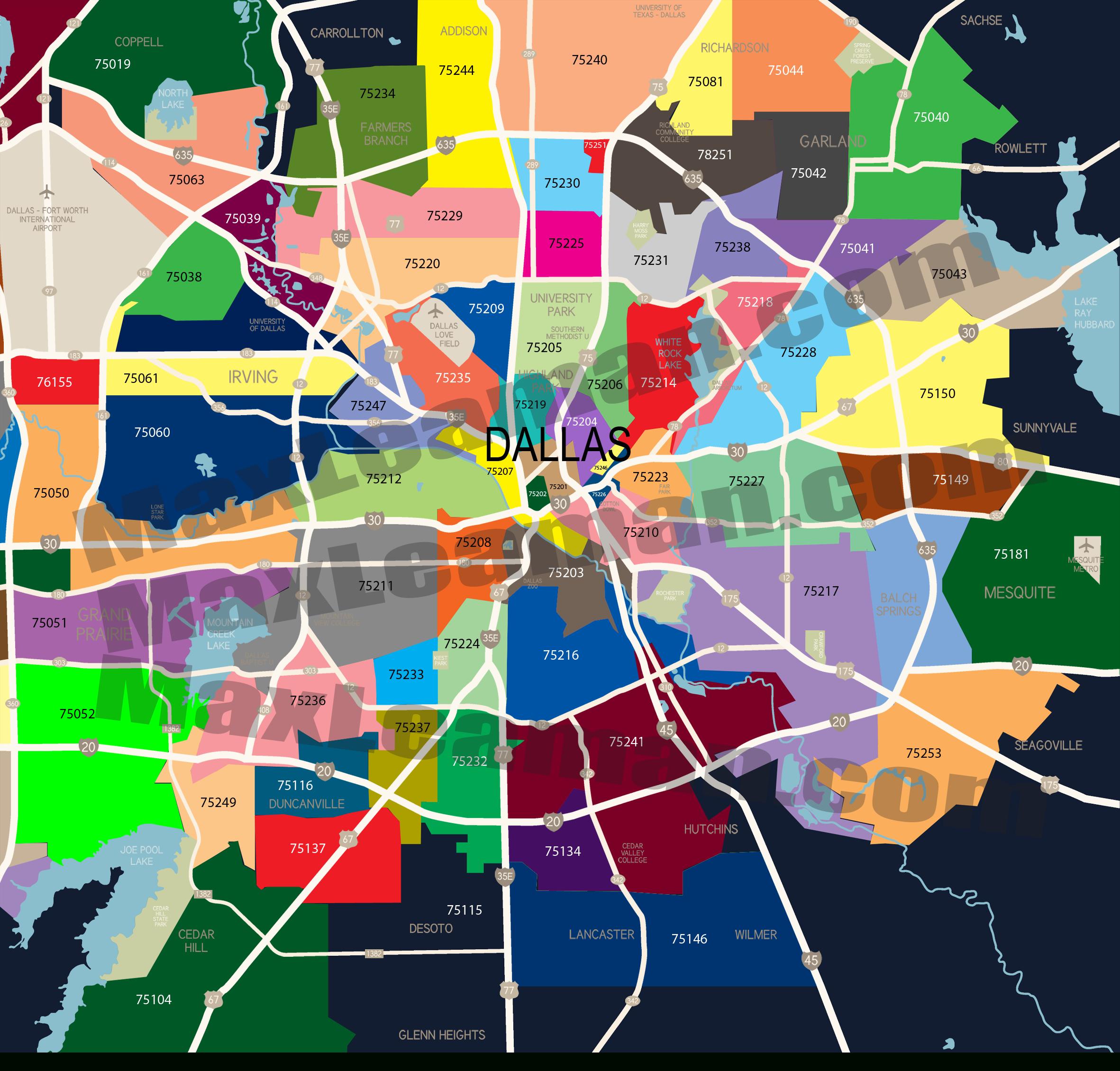 Dallas Zip Code Map   Mortgage Resources - Texas Zip Code Map