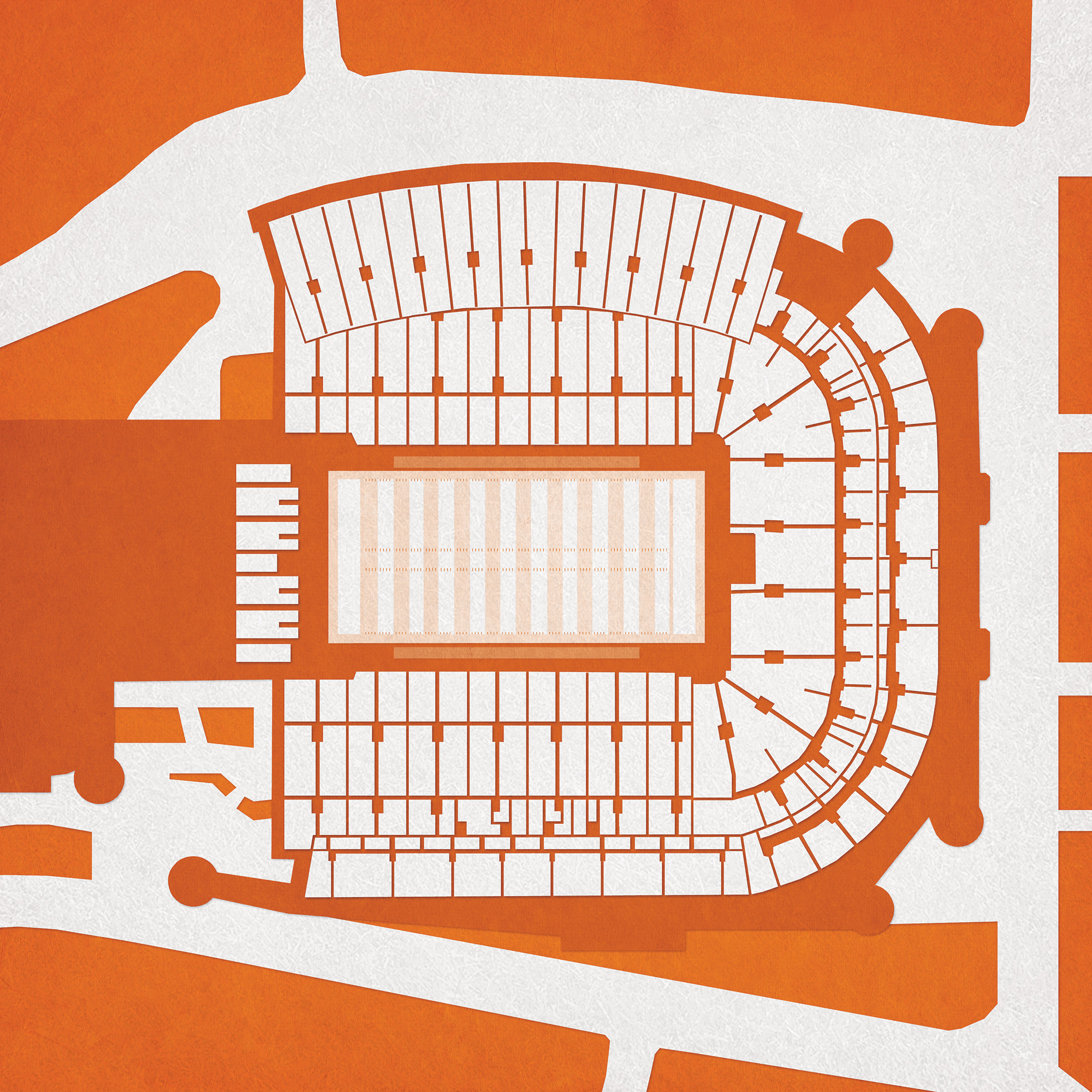 Darrell K Royal - Texas Memorial Stadium Map Art - The Map Shop - Texas Memorial Stadium Map