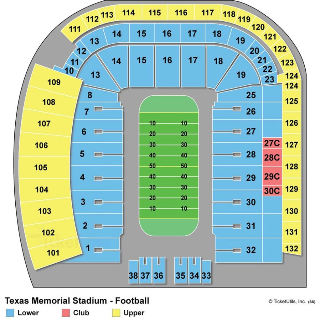 Darrell K Royal-Texas Memorial Stadium - Maplets - University Of Texas Stadium Map