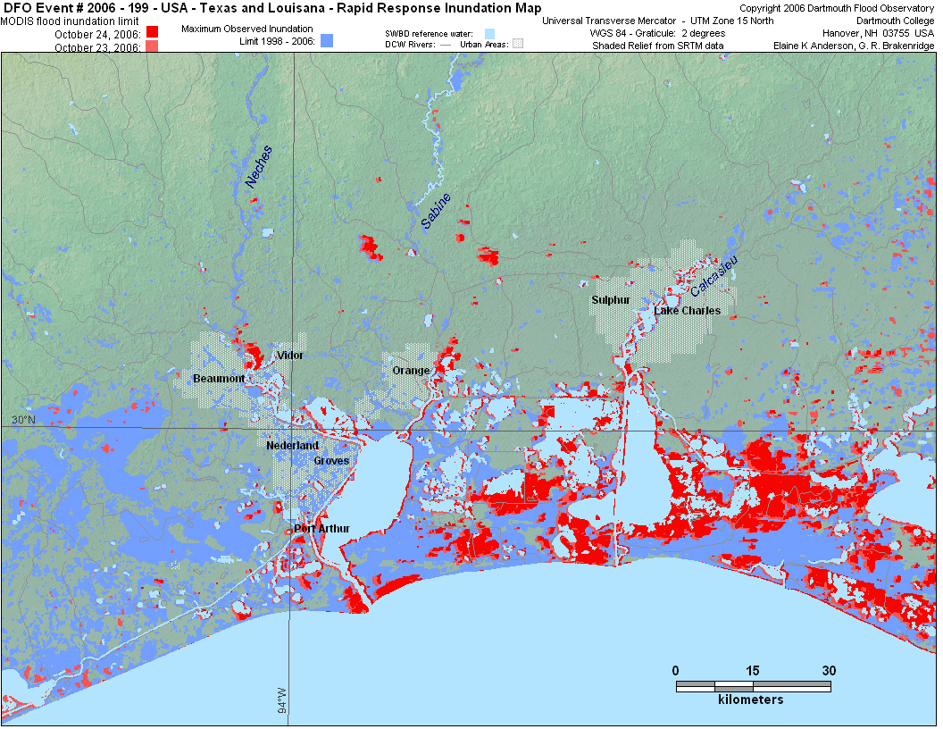 Dartmouth Flood Observatory - Orange County Texas Flood Zone Map