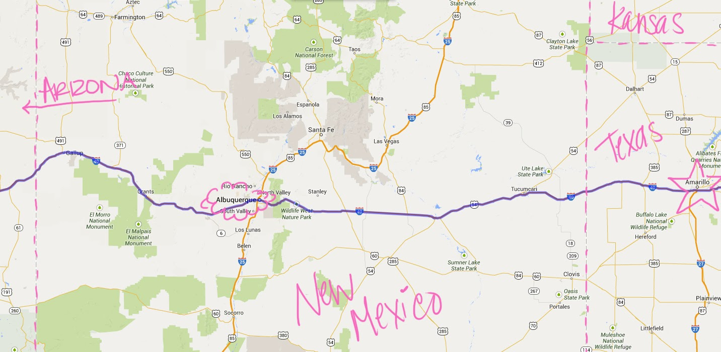 Day One! California, Arizona, New Mexico And Texas | California Girl - Map Of I 40 In Texas