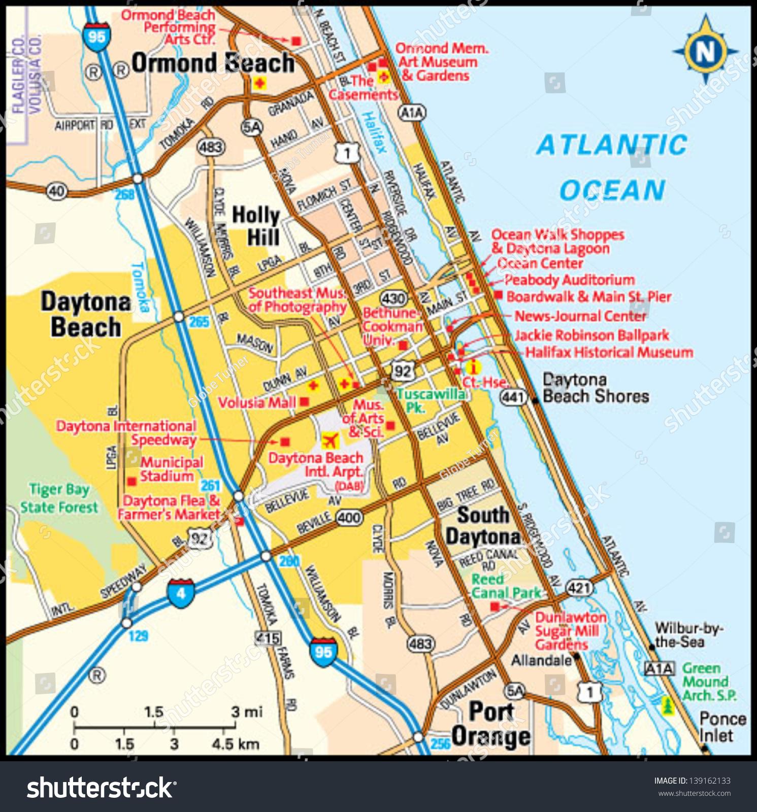 Daytona Beach Florida Area Map Stock Vector (Royalty Free) 139162133 - Map Of Daytona Beach Florida