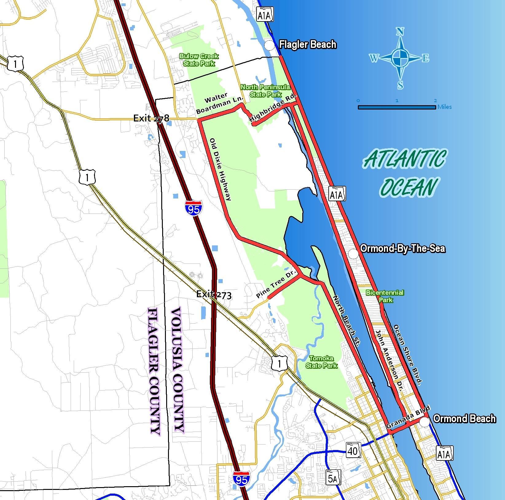 Daytona Beach Map From Ormondscenicloopandtrail 5 - Ameliabd - Map Of Daytona Beach Florida
