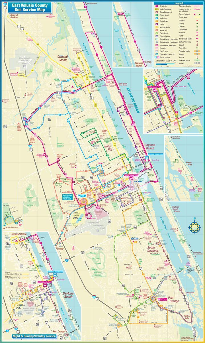Daytona Beach Route Map | Travel | Pinterest | Daytona Beach, Beach - Map Of Daytona Beach Florida
