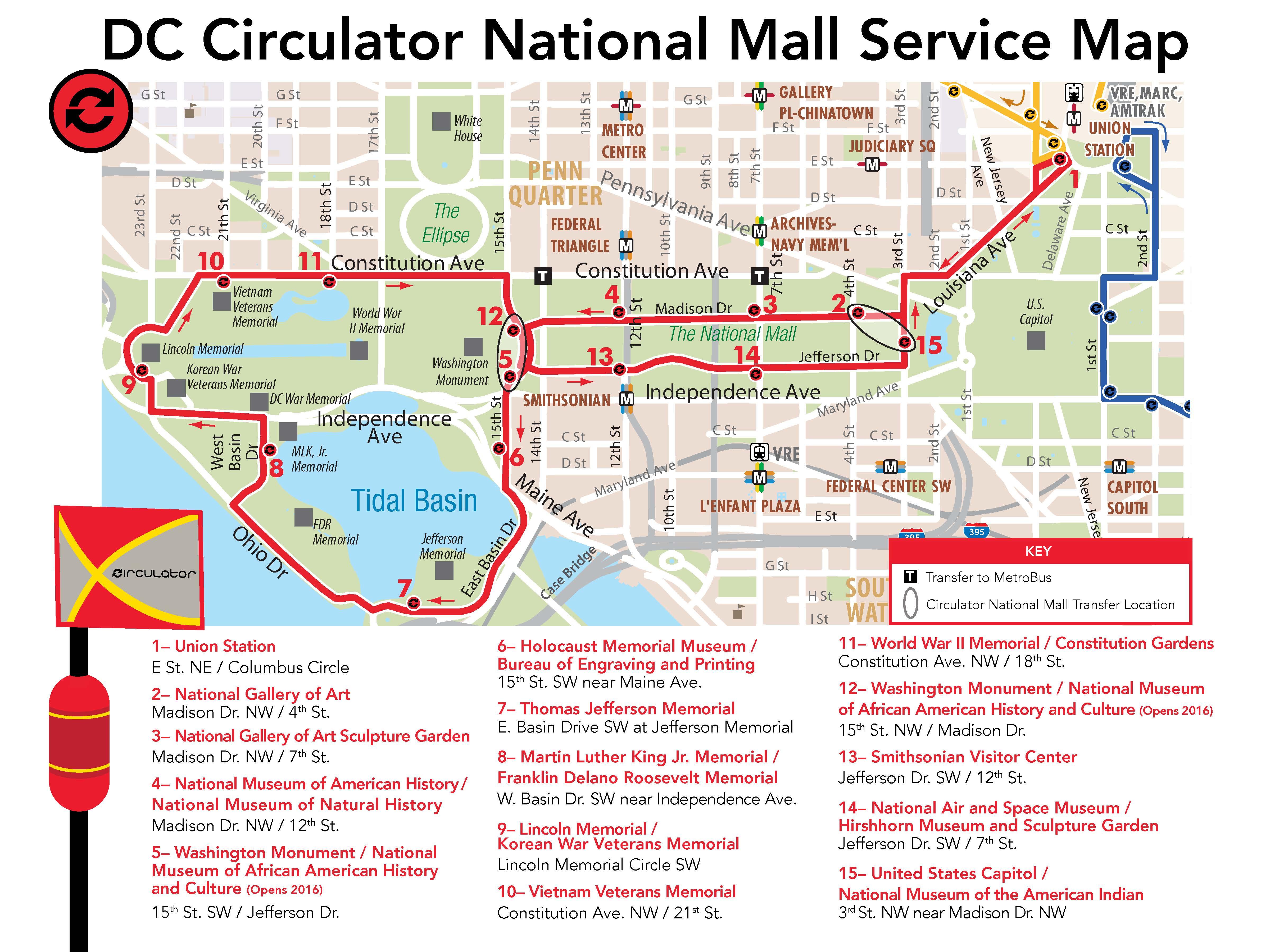Dc Circulator National Mall Route - National Mall Map Printable