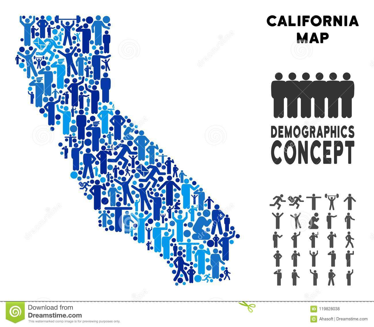 Demographics California Map Stock Vector - Illustration Of Nation - California Demographics Map