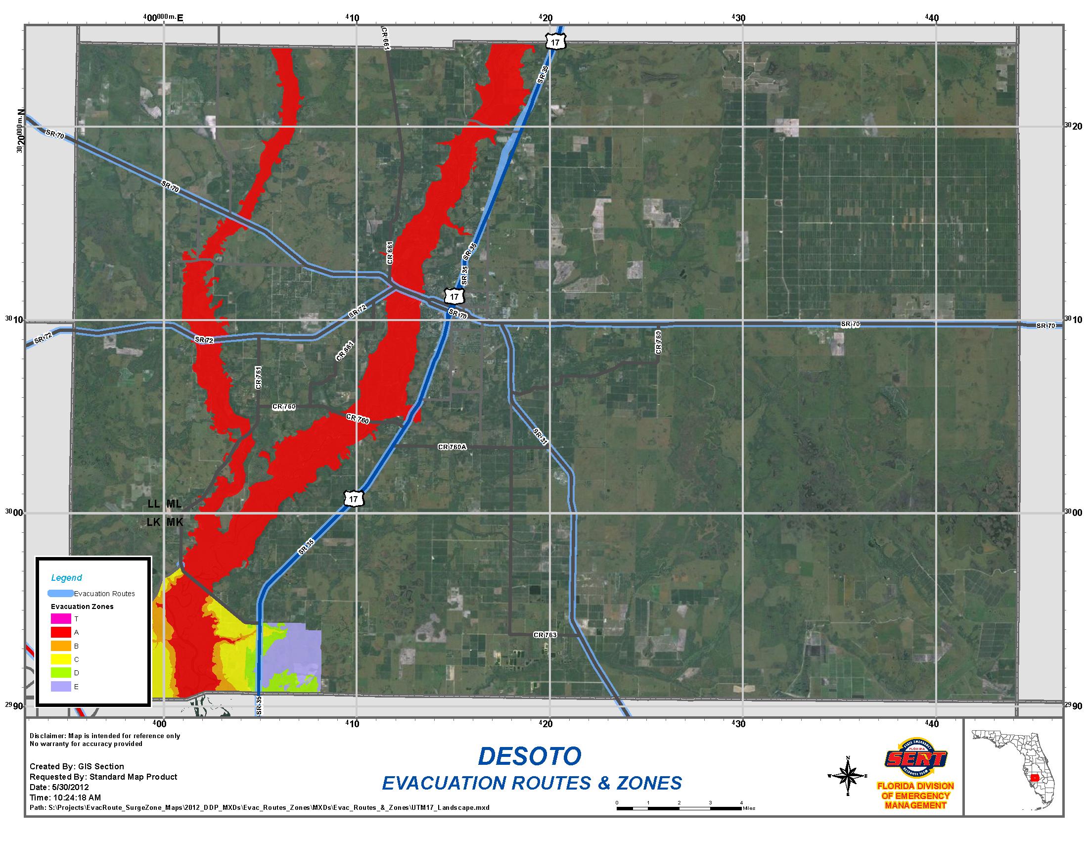 Department | Emergency Management | Desoto County Evacuation Routes - Florida Evacuation Route Map