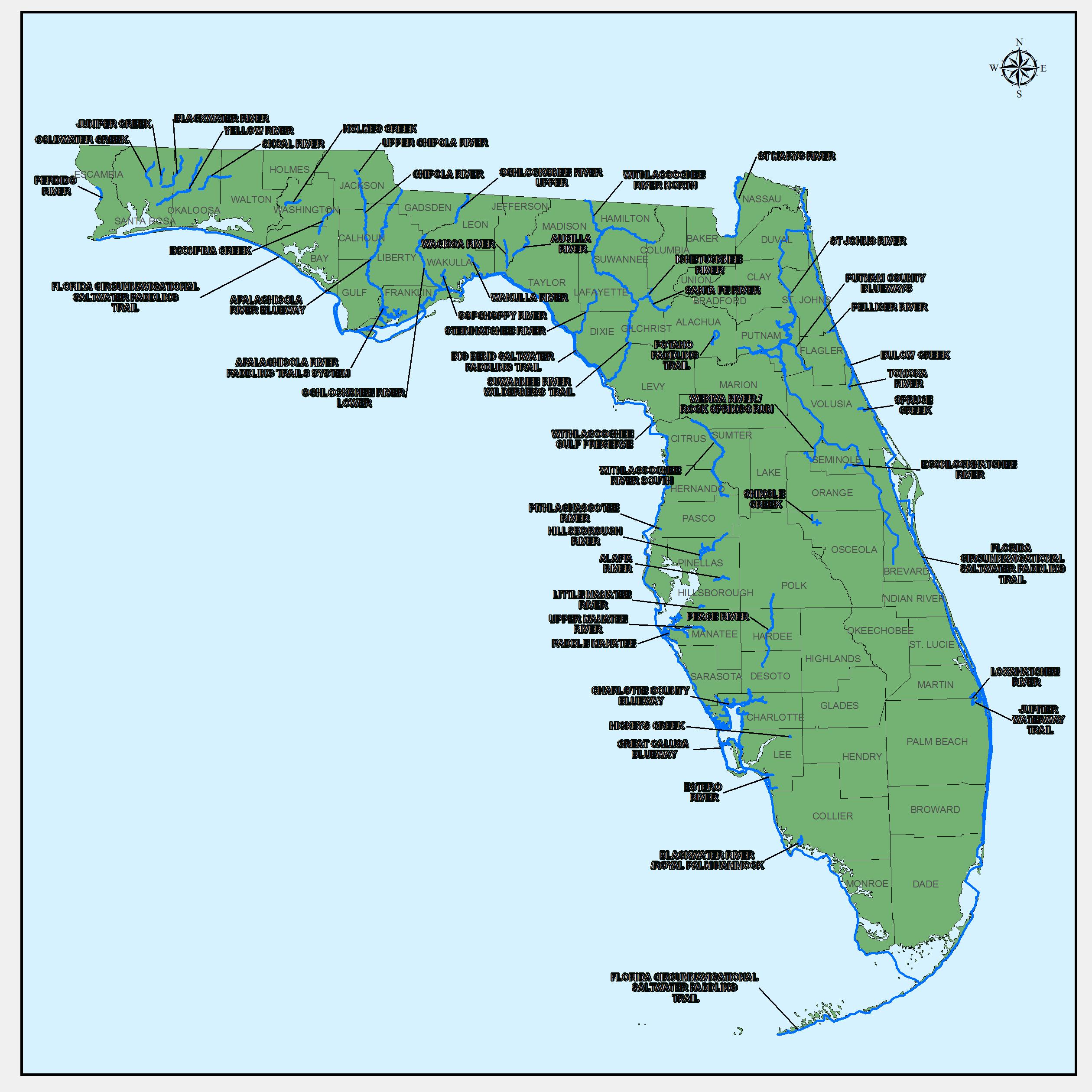 Designated Paddling Trails Map | Kayaking | Kayaking, Trail, Paddle - Florida Paddling Trail Maps