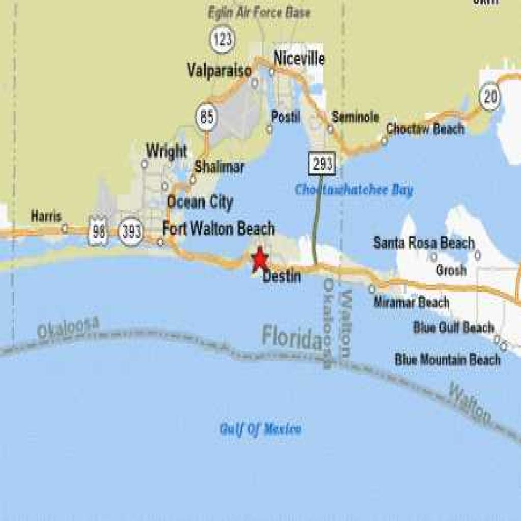 Destin Beach Florida Map - Blue Mountain Beach Florida Map