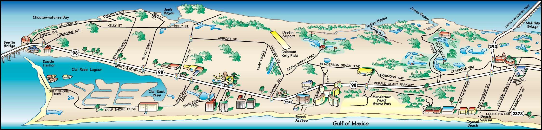 Destin Florida Map | Destin, Florida Map 1 | Vacations | Destin - Denton Florida Map