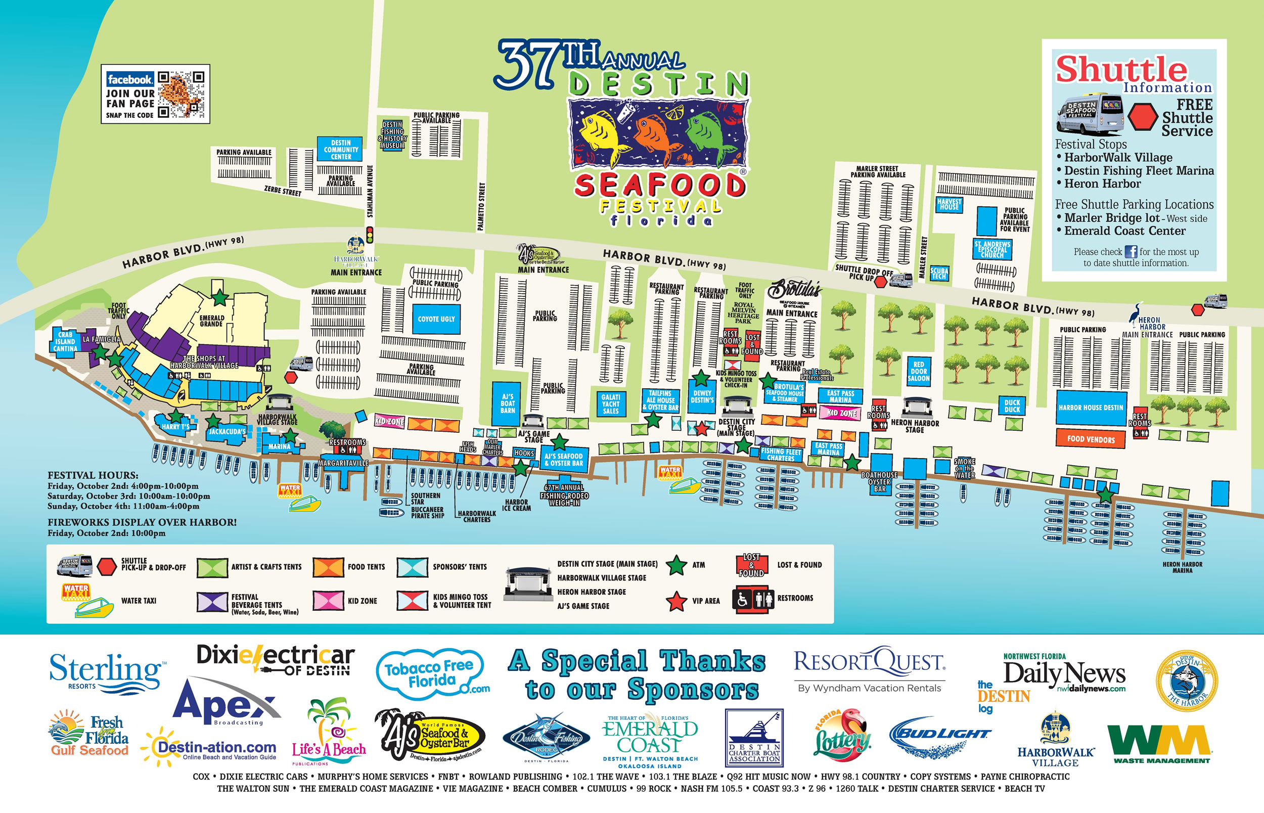Destin Seafood Festival - Destin Harbor - Parking And Maps - Destin Florida Location On Map
