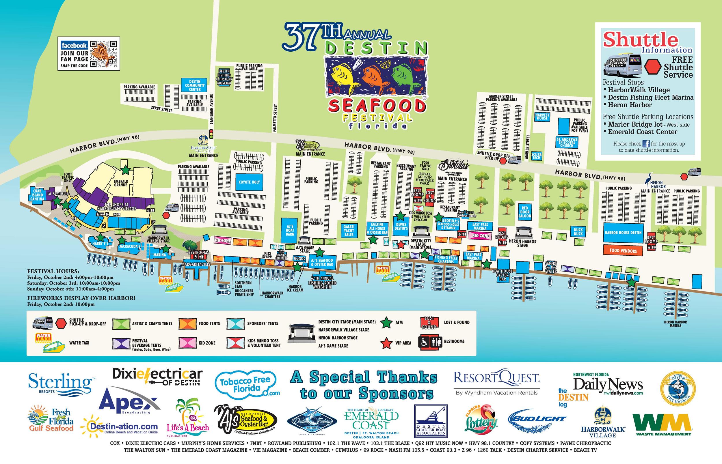 Destin Seafood Festival - Destin Harbor - Parking And Maps - Emerald Coast Florida Map