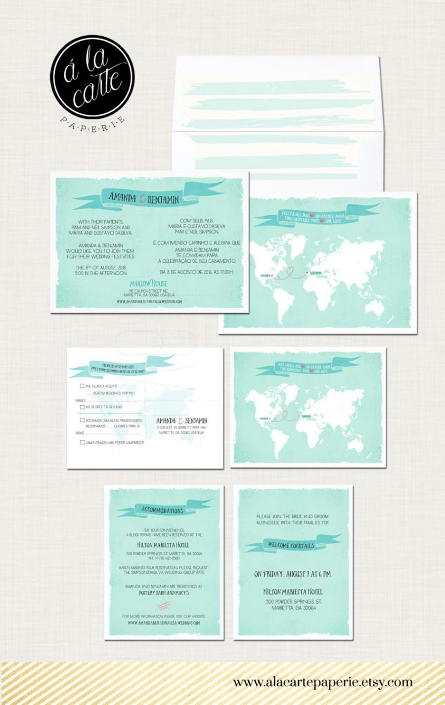 Destination Wedding Invitation Two Countries One Love Bilingual - Printable Maps For Wedding Invitations Free