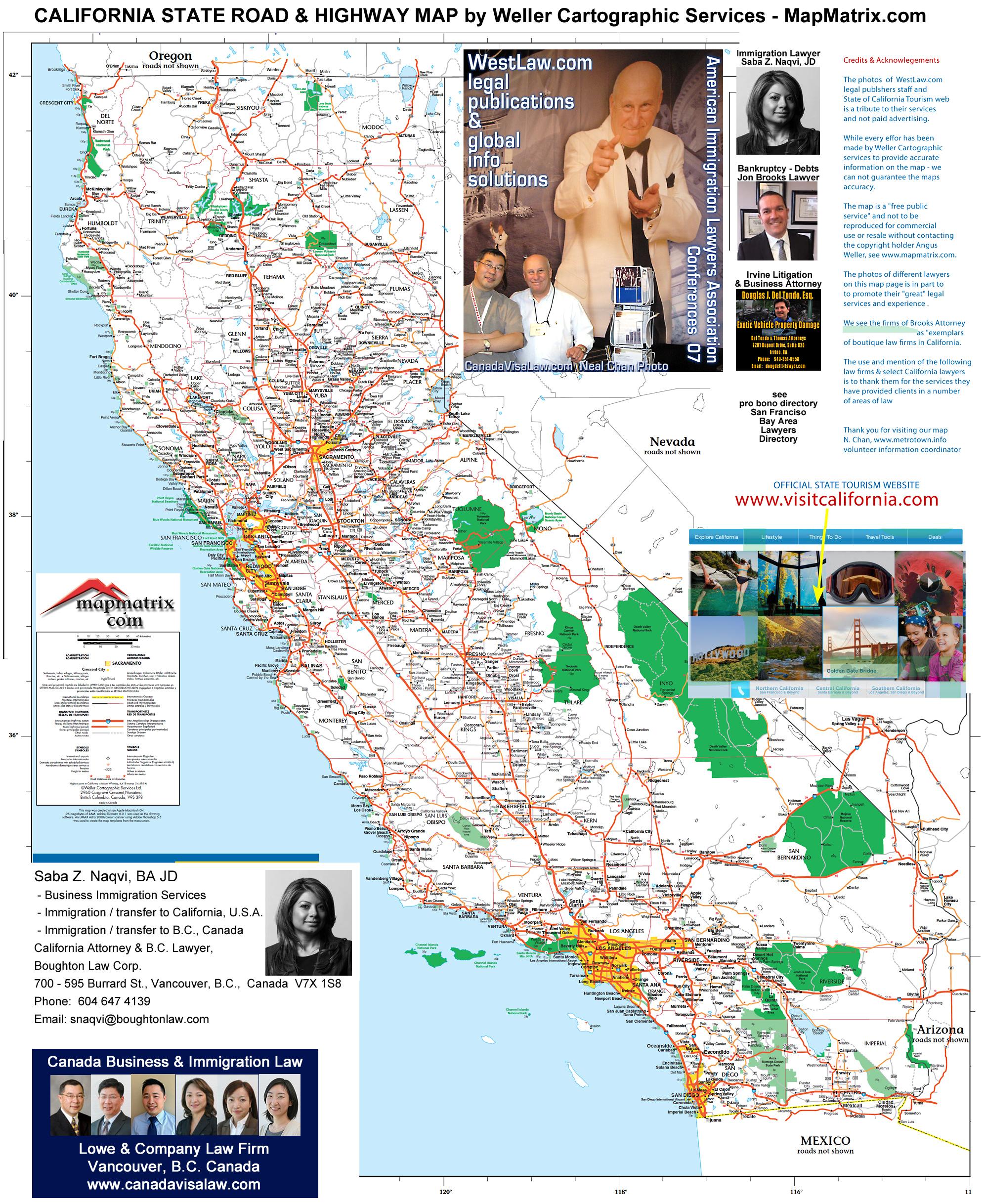 Detailed California Road / Highway Map - [2000 Pix Wide - 3 Meg - California Oregon Border Map