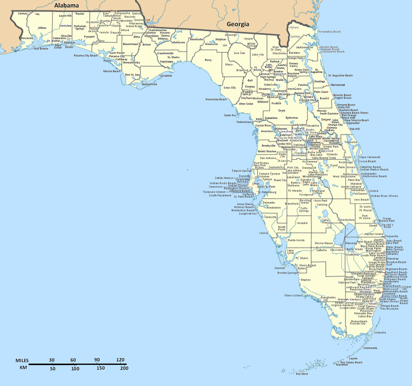 Detailed Florida State Map With Cities. Florida State Detailed Map - Where Is Panama City Florida On The Map