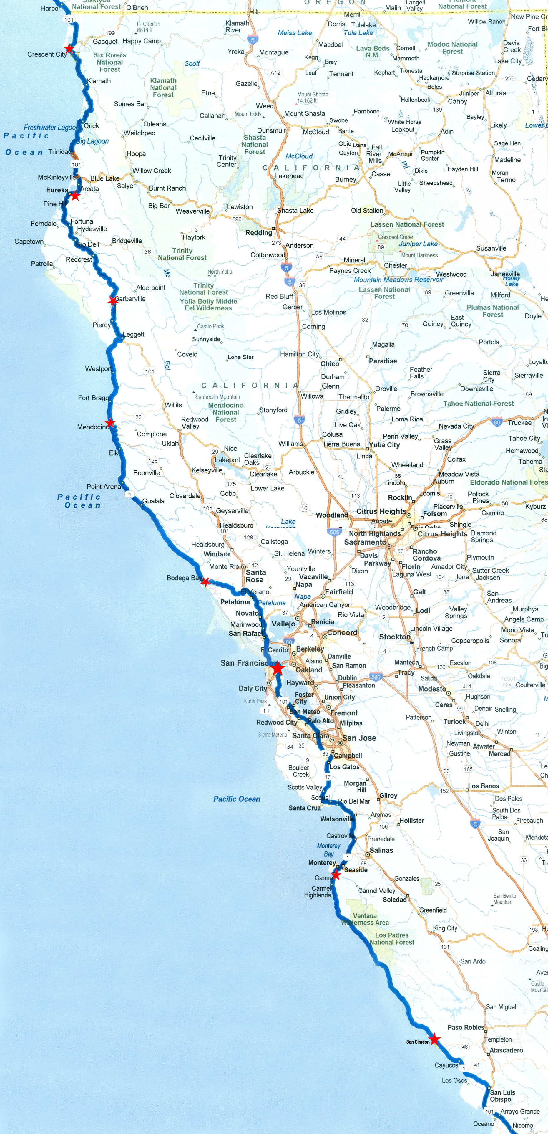 Detailed Map Of California Coast - Klipy - Road Map Of California Coast