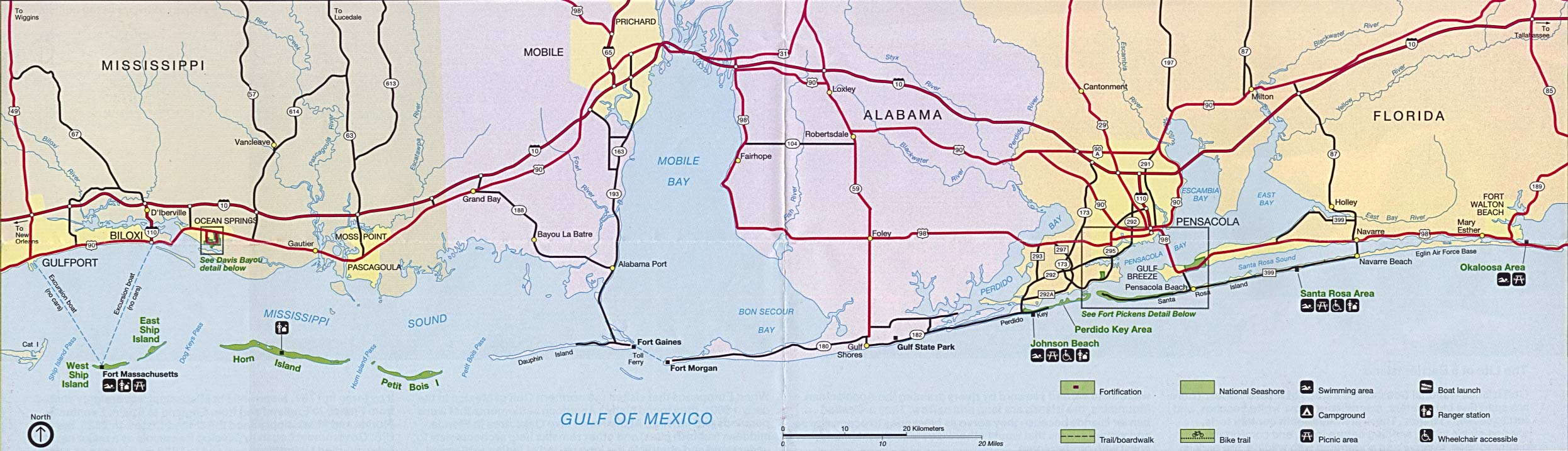 Detailed Map Of Florida Gulf Coast And Travel Information | Download - Florida Gulf Coastline Map