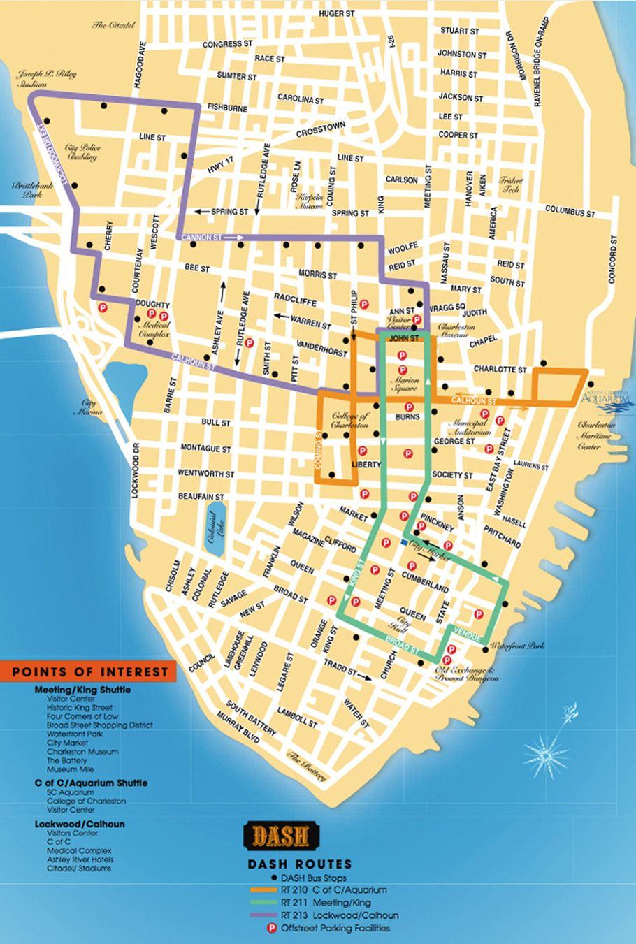 Detailed Map Of The Charleston Dash Trolley Routes.   Charleston Sc - Printable Map Of Charleston Sc