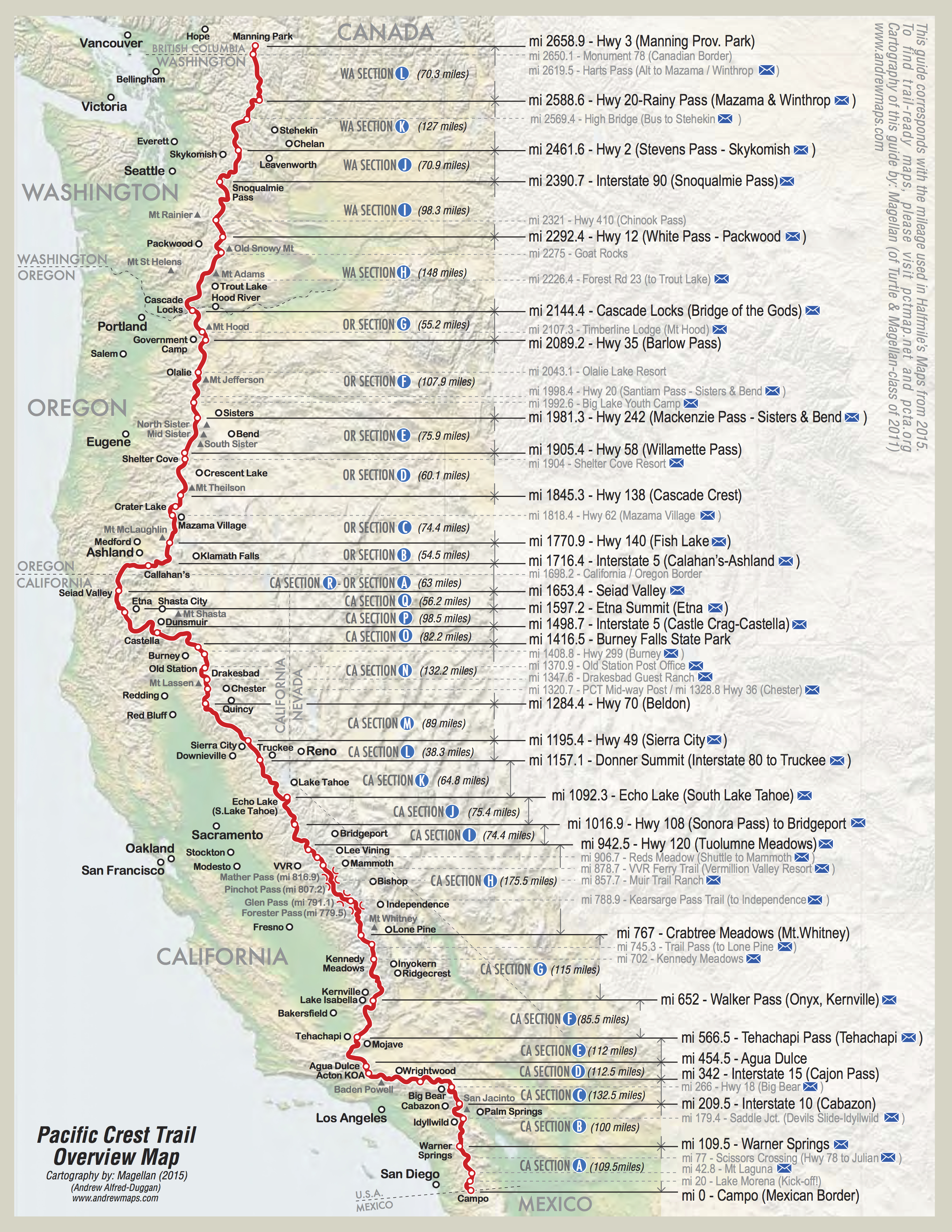 Detailed Pct Maps – Derek & Caitlin's 2015 Pacific Crest Trail Hike - Northern California Hiking Map