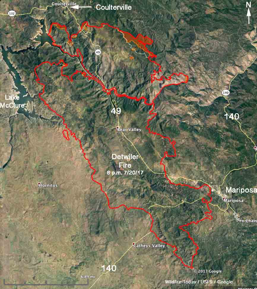 Detwiler Fire California Map With Cities California Fire Map Google - California Fire Map Google